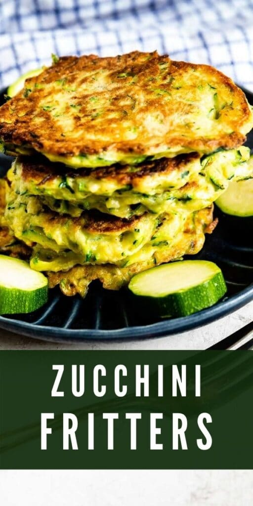 Stack of zucchini fritters on a plate surrounded by circled zucchinis with recipe title on bottom of photo