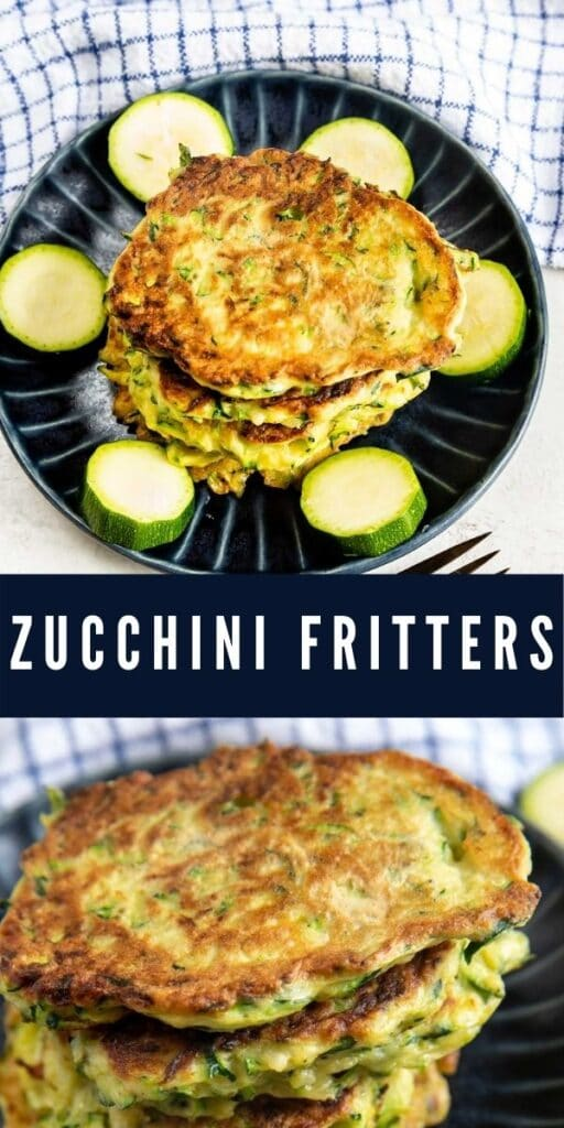 Photo collage of zucchini fritters with recipe title in the middle of photos