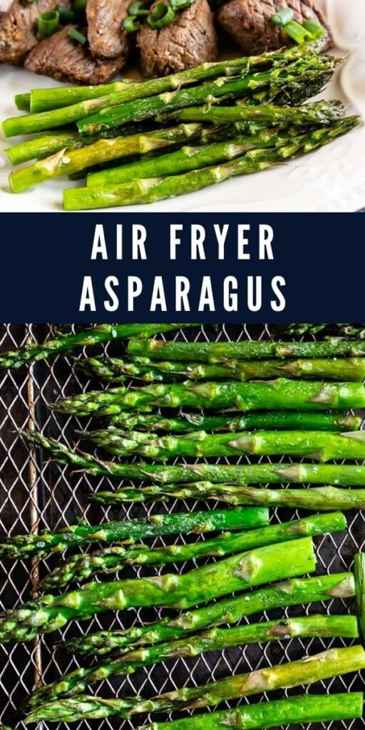 Air fryer asparagus collage with recipe title in the middle of two photos