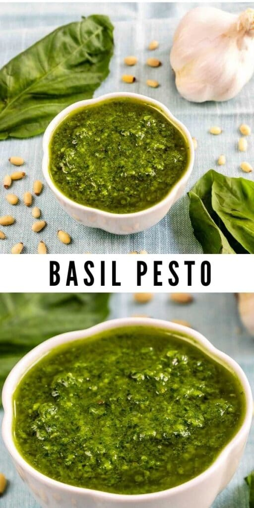Two photo collage of basil pesto with recipe title in the middle