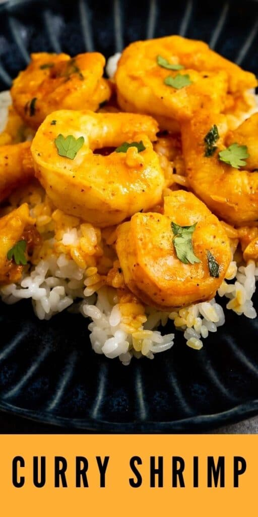 Close up shot of curry shrimp served over rice with recipe title on bottom of image
