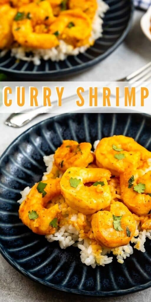 Two plates of curry shrimp served over rice with recipe title on image