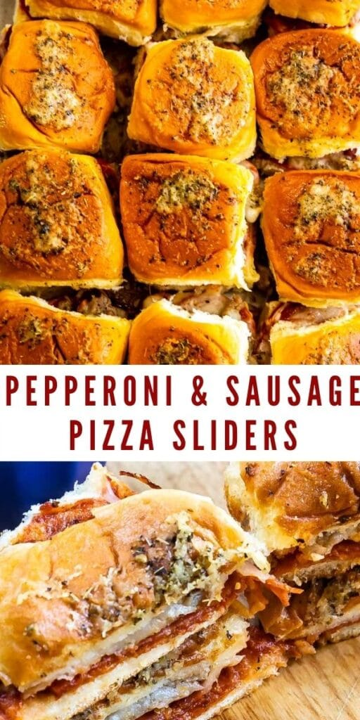 Collage of pepperoni and sausage pizza sliders with recipe title in the middle of two photos