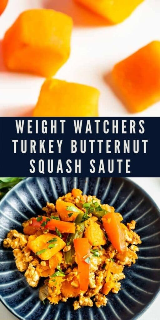 Collage of weight watchers turkey butternut squash saute with recipe title in the middle