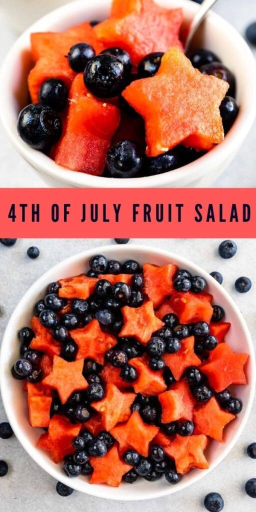 Two photo collage of fourth of july fruit salad with recipe title in between them