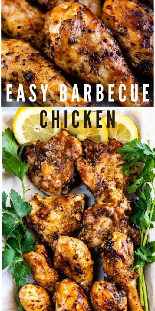 Collages of easy barbecue chicken with recipe title in between two photos