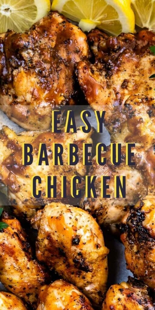 Overhead close up shot of easy barbecue chicken with recipe title in the middle of photo