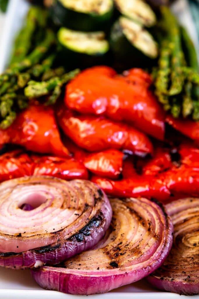 Close up shot of grilled vegetables