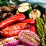 Close up shot of grilled veggies