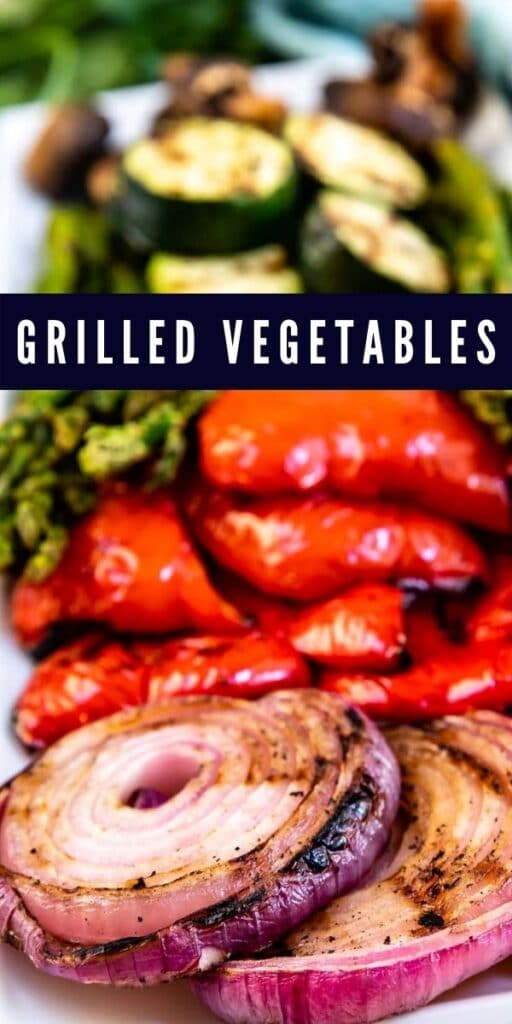 Close up shot of grilled vegetables with recipe title on top of image