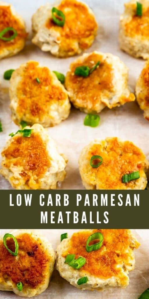 Low carb parmesan meatballs topped with green onions on parchment paper and recipe title in middle of photo