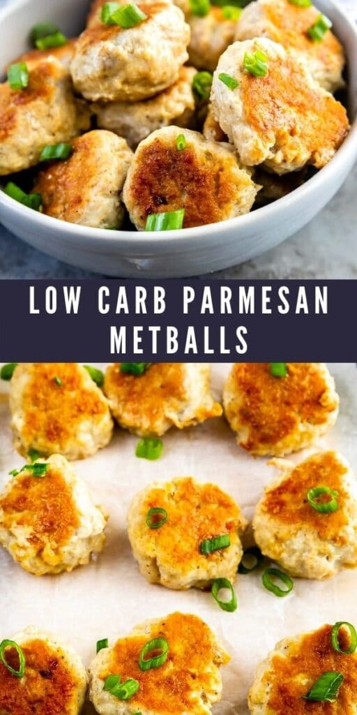 Photo collage of low carb parmesan meatballs with recipe title in the middle of photos