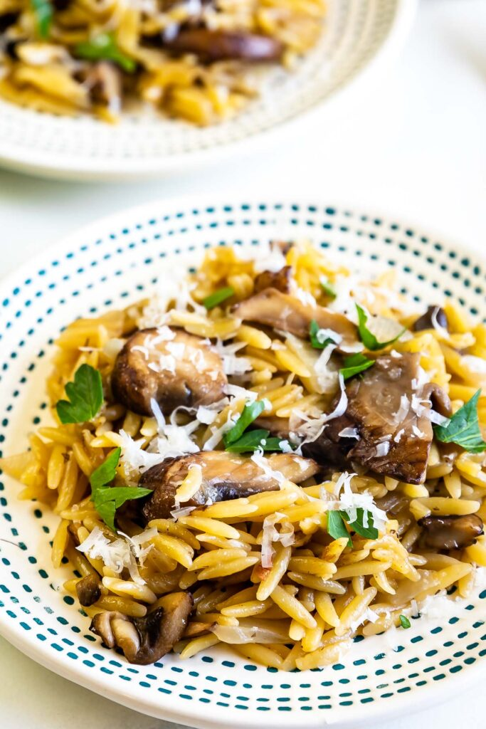 Two plates of mushroom orzo served on a table