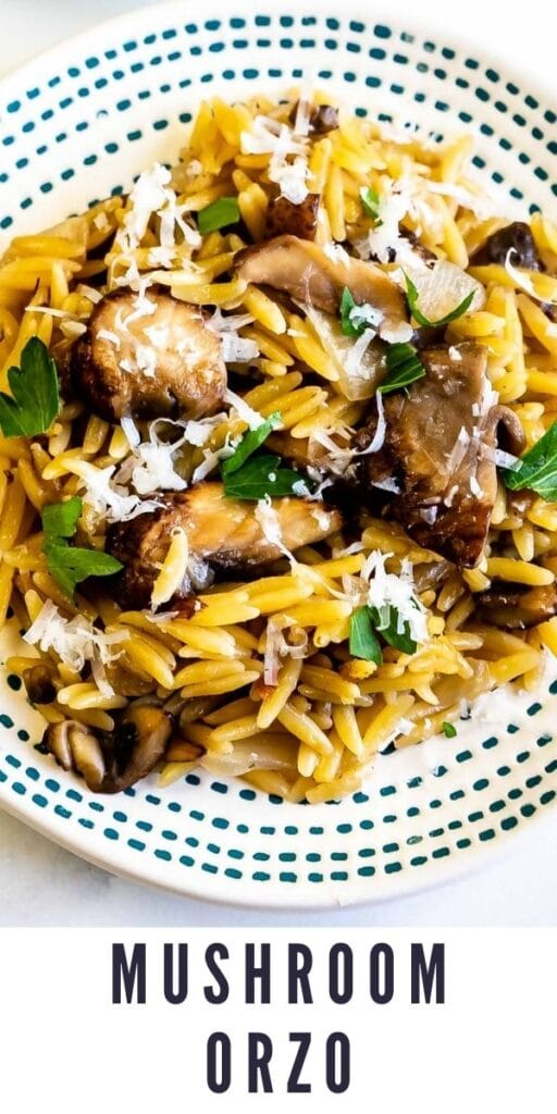 Overhead shot of mushroom orzo on a plate with recipe title on bottom of image