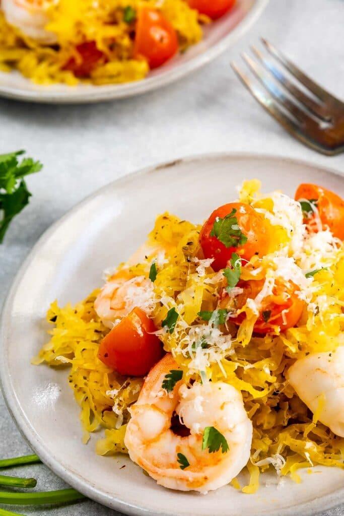 Close up shot of shrimp scampi over spaghetti squash
