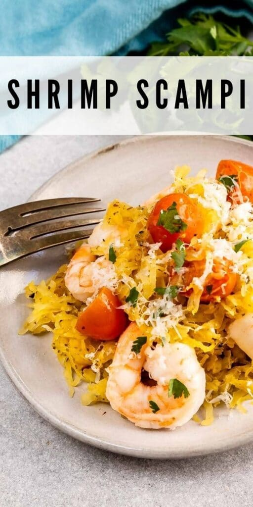 Close up shot of shrimp scampi over spaghetti squash with recipe title on top of image