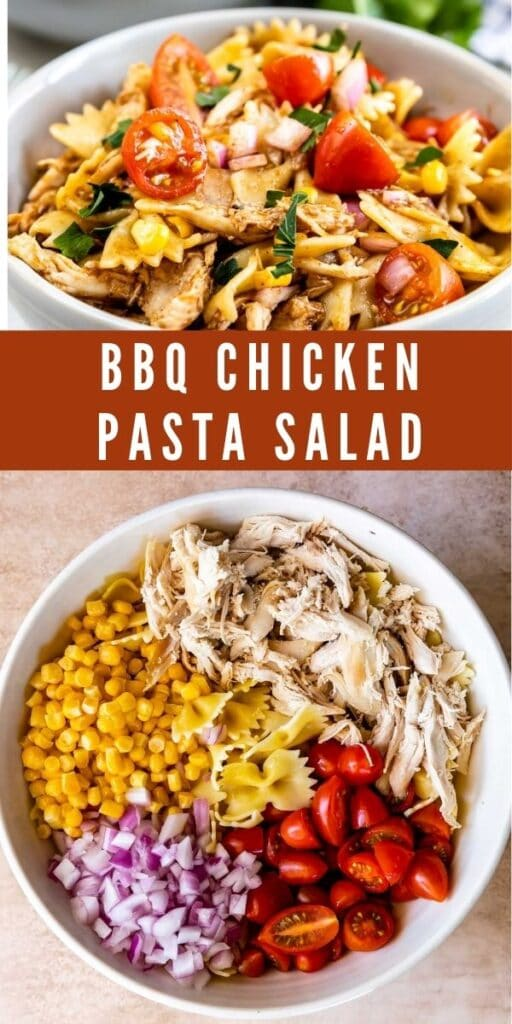 Photo collage of BBQ chicken pasta salad with recipe title in the middle of two photos