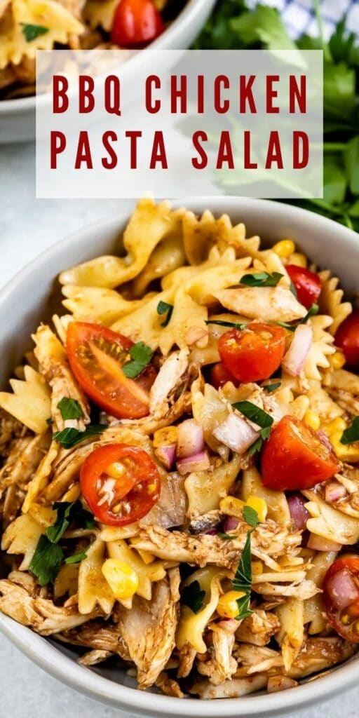 Overhead shot of BBQ chicken pasta salad with recipe title on top of image