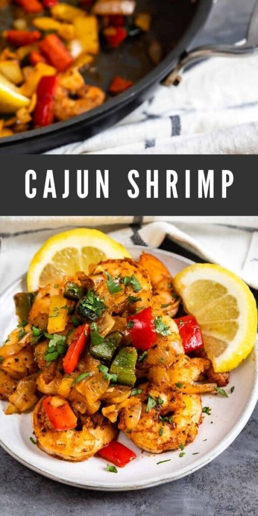 Plate full of cajun shrimp with rest of skillet behind it and recipe title in middle of photo