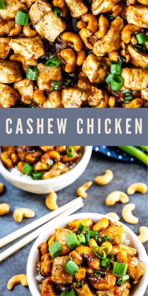Photo collage of cashew chicken with recipe title in middle of photos