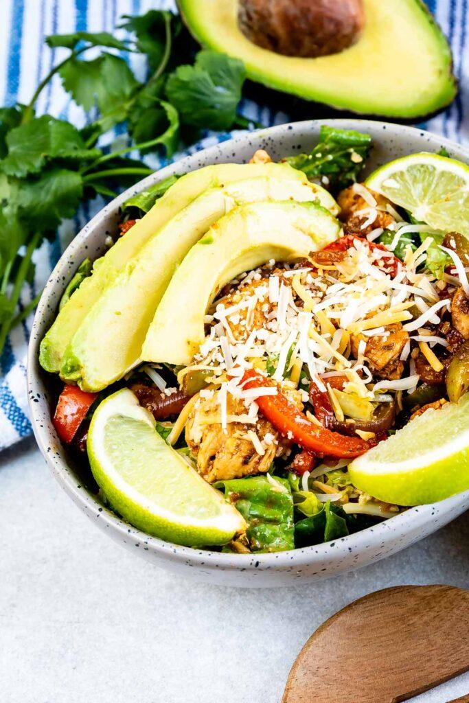 Overhead shot of fajita salad in a salad bowl