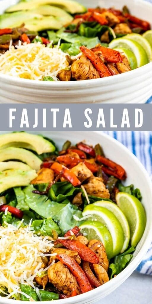 Photo collage of fajita salad in a serving bowl with recipe title in the middle of photos