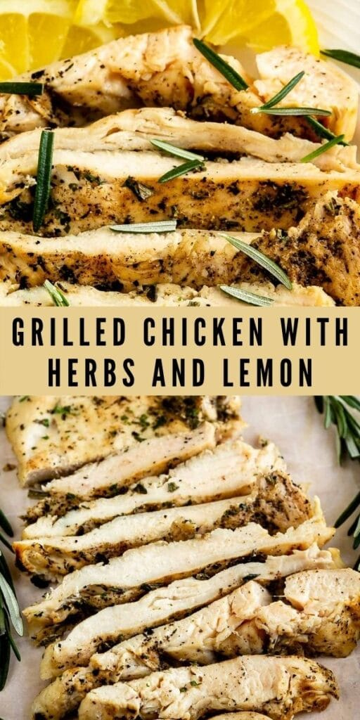 Photo collage of grilled chicken with herbs and lemon with recipe title in the middle of photos