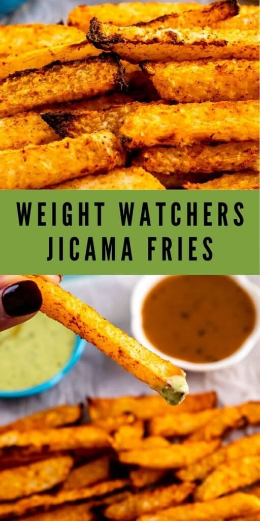 Two photos of jicama fries with recipe title in the middle of photos