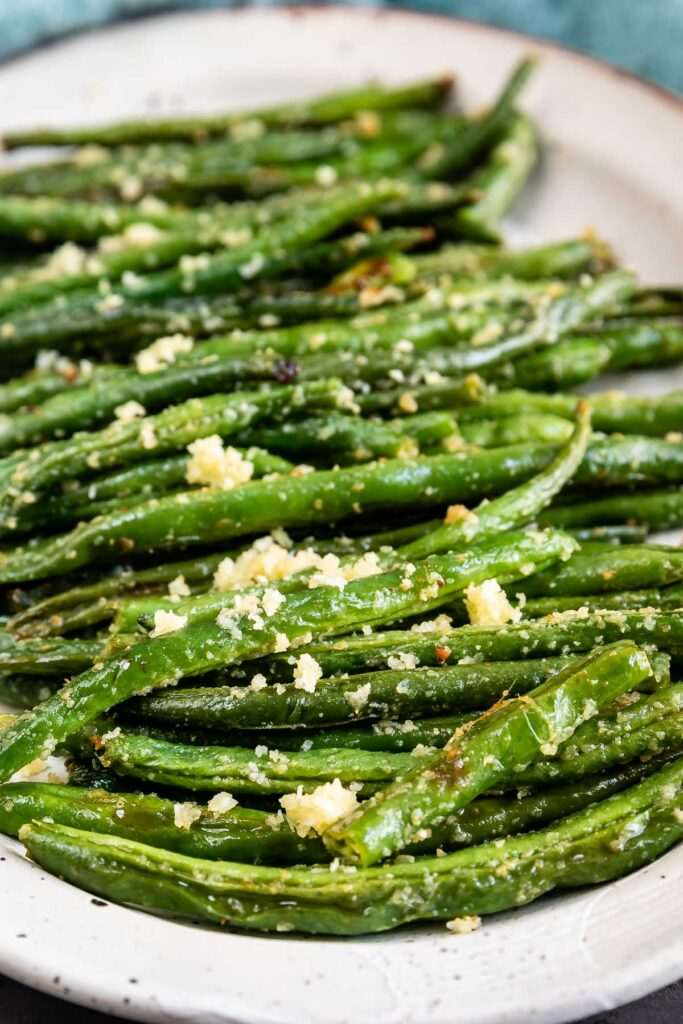 Close up shot of roasted green beans