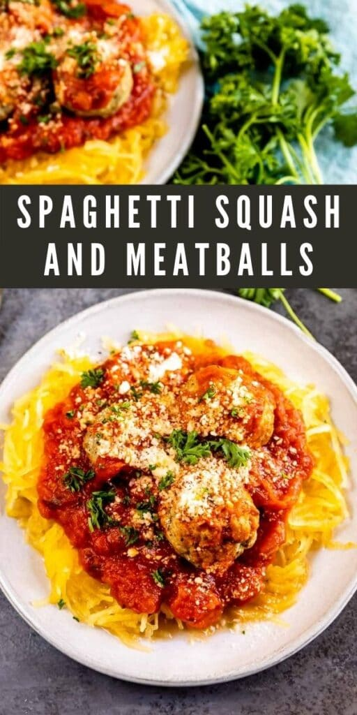 Two plates of spaghetti squash and meatballs topped with cheese and herbs and recipe title on top of image
