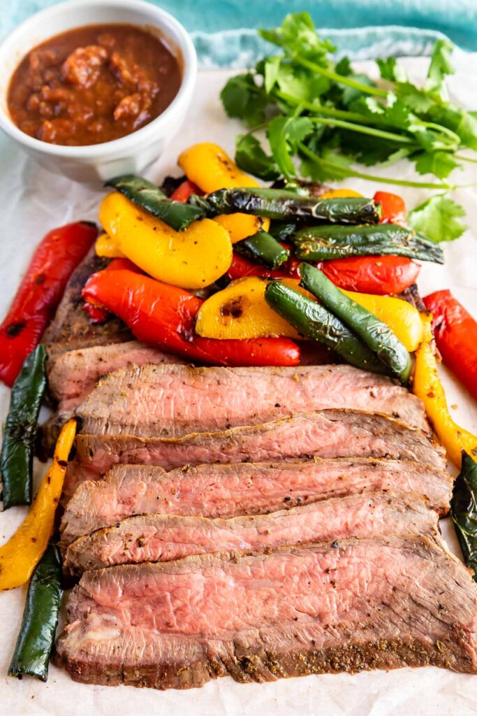 Pepper steak, peppers and herbs with dipping sauce
