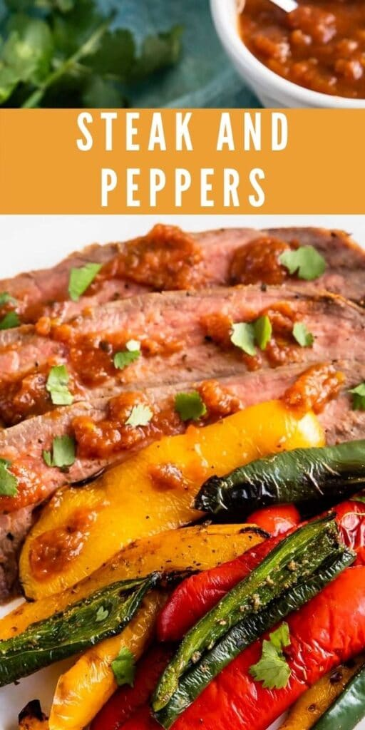 Steak and peppers plated with recipe title on top of image