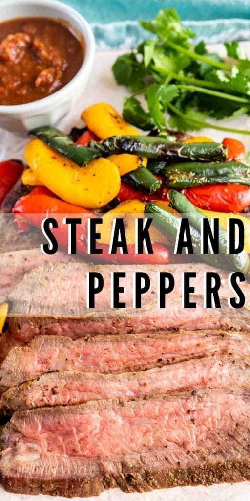 Pepper steak, peppers and herbs with dipping sauce with recipe title in middle of photo