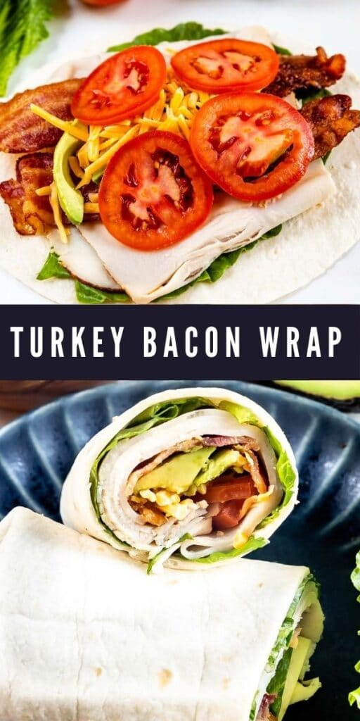 Two photos of turkey bacon wraps with recipe title in the middle of them