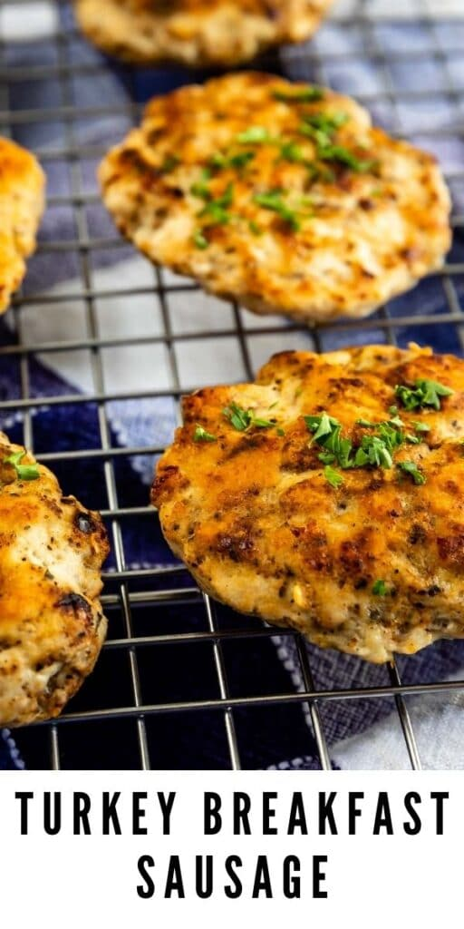 Turkey Breakfast Sausage on a metal cooling rack with recipe title on the bottom of image