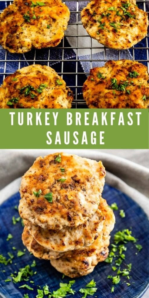 Photo collage of turkey breakfast sausage with recipe title in the middle of photos