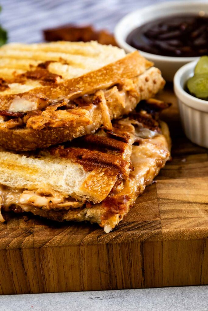 Close up of BBQ Chicken Panini on a cutting board