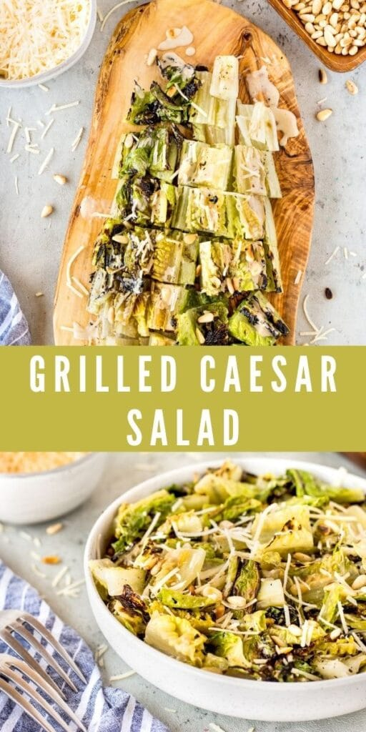 Collage of grilled caesar salad with recipe title in the middle of photos