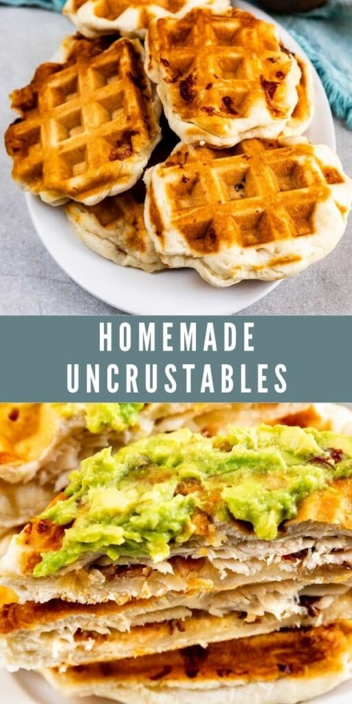 Photo collage of homemade uncrustables with recipe title in the middle of two photos