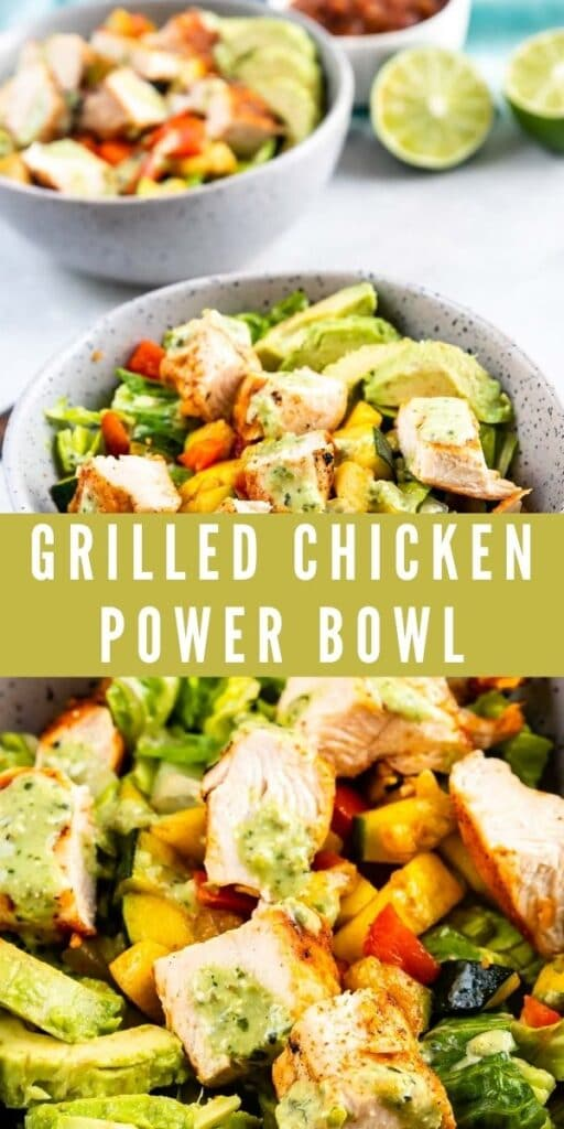 Collage of low carb grilled chicken power bowl with recipe title in the middle of photos