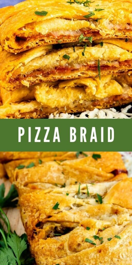 Photo collage of pizza braid with recipe title in the middle of photos