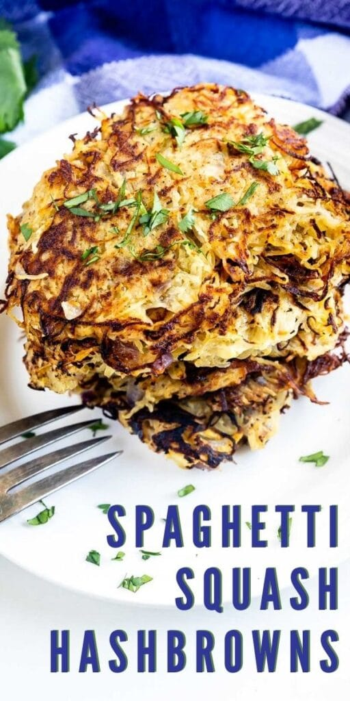 Stack of spaghetti squash hash browns with recipe title on bottom of photo