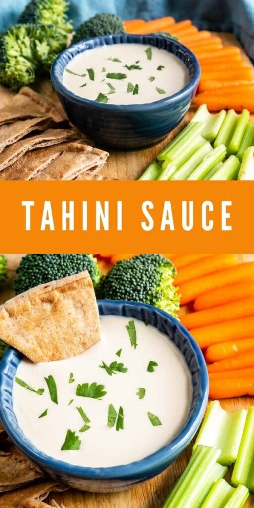 Photo collage of Tahini Sauce with recipe title in the middle of two photos