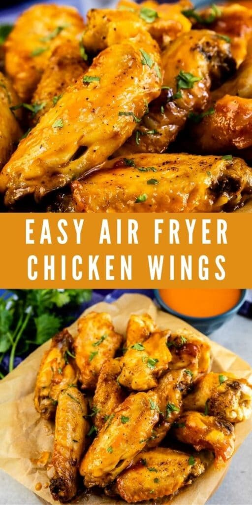 Photo collage of easy air fryer chicken wings with recipe title in the middle of two photos