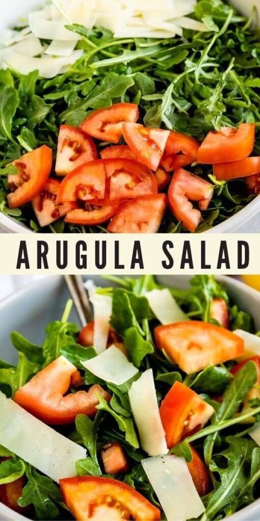 Collage of arugula salad photos with recipe title in the middle of two