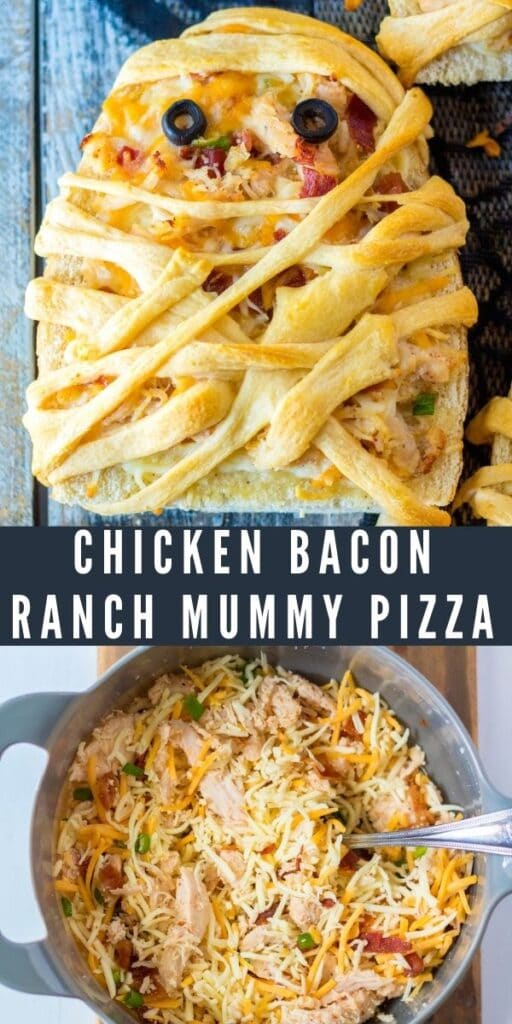 Photo collage of chicken bacon ranch mummy pizzas with recipe title in the middle of photos