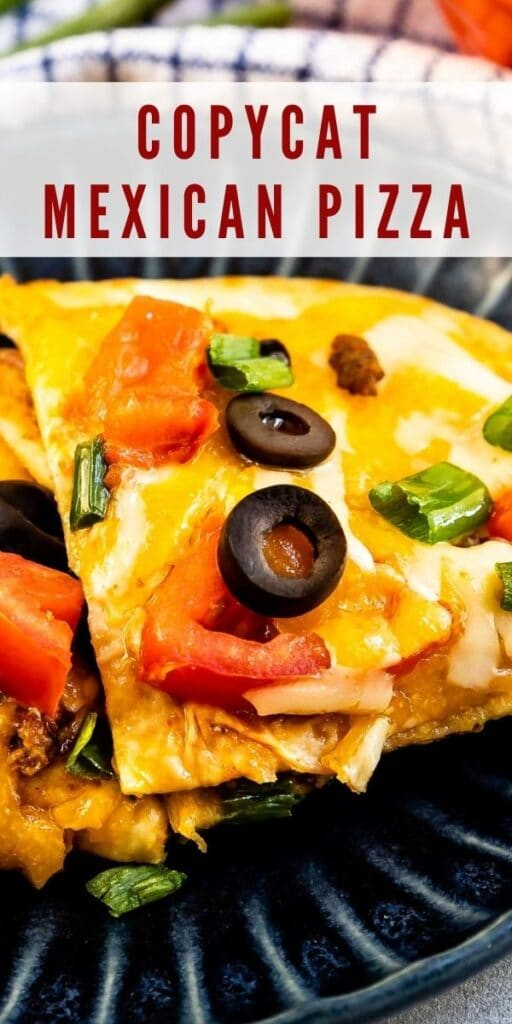 Close up shot of one triangular piece of mexican pizza on a plate with recipe title on top of image