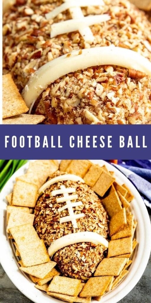 Photo collage of football cheese ball with recipe title in the middle of photos