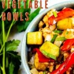 Overhead close up shot of ground chicken vegetable bowl with recipe title on top of image