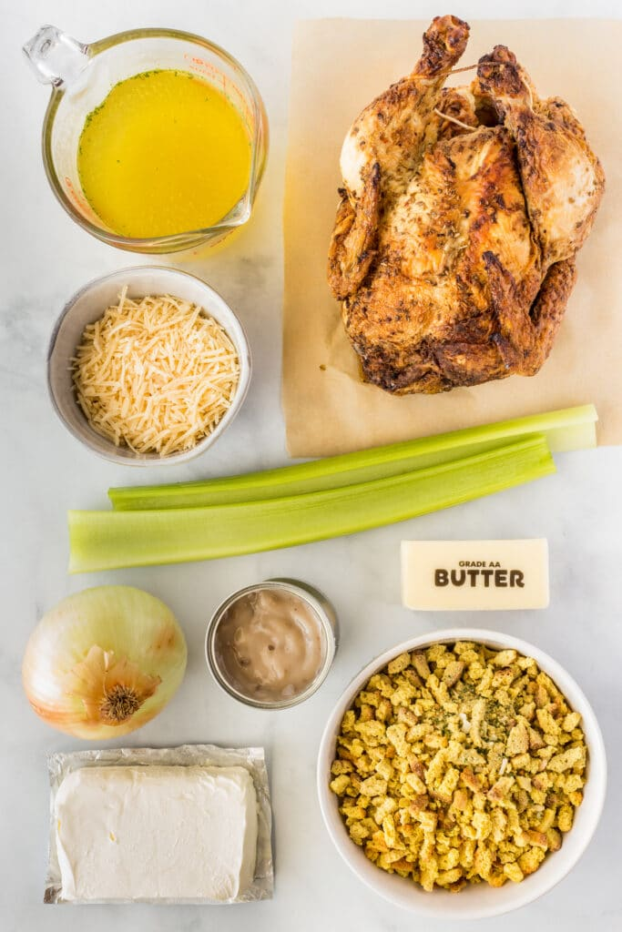 Overhead shot of ingredients needed for creamy chicken stuffing casserole